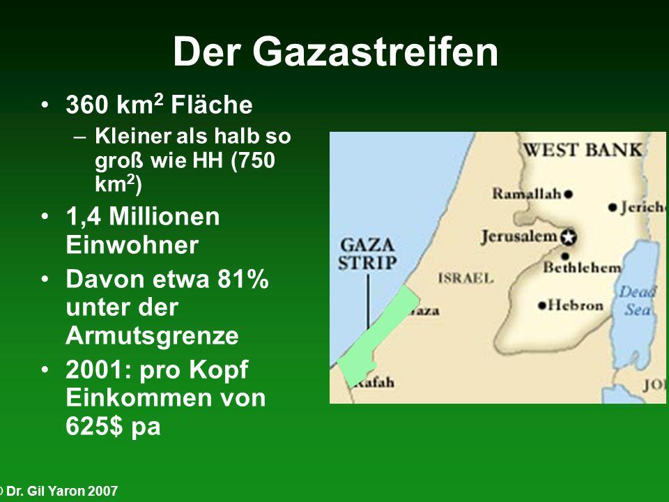 Der Gazastreifen 360 km 2 Fläche –Kleiner als halb so groß wie HH (750 km 2 ) 1,4 Millionen Einwohner Davon etwa 81% unter der Armutsgrenze 2001: pro