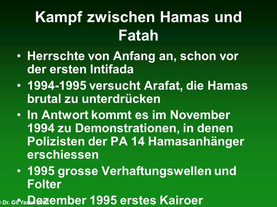 © Dr. Gil Yaron 2007 Kampf zwischen Hamas und Fatah Herrschte von Anfang an, schon vor der ersten Intifada 1994-1995 versucht Arafat, die Hamas brutal