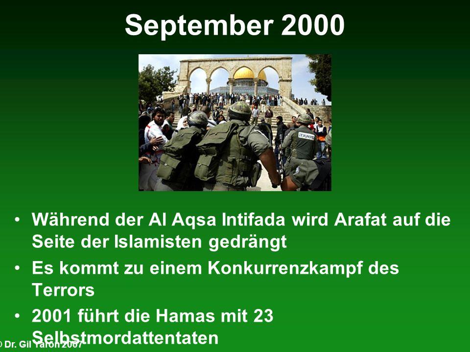 September 2000 Während der Al Aqsa Intifada wird Arafat auf die Seite der Islamisten gedrängt Es kommt zu einem Konkurrenzkampf des Terrors 2001 führt