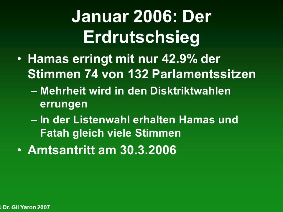 © Dr. Gil Yaron 2007 Januar 2006: Der Erdrutschsieg Hamas erringt mit nur 42.9% der Stimmen 74 von 132 Parlamentssitzen –Mehrheit wird in den Disktrik