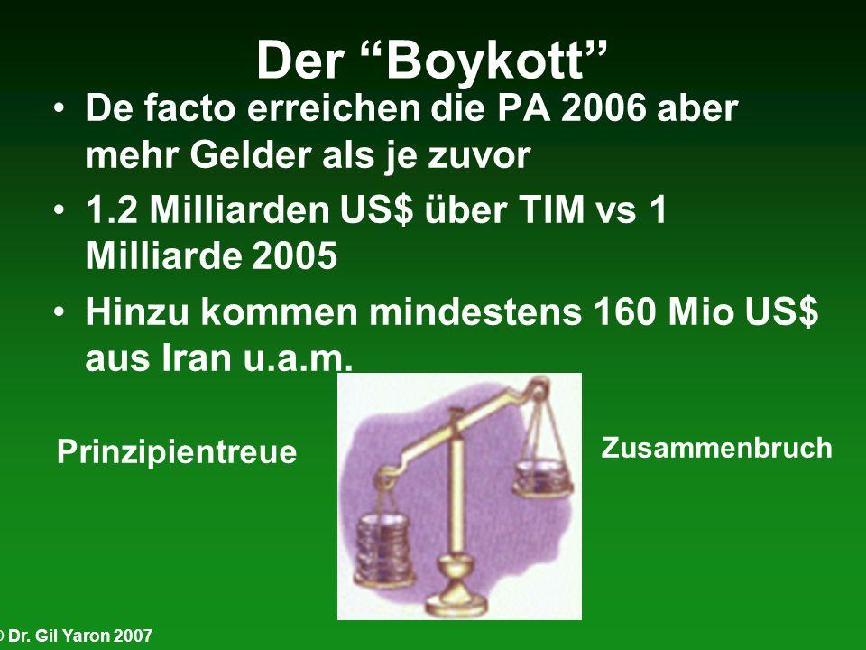 © Dr. Gil Yaron 2007 Der Boykott De facto erreichen die PA 2006 aber mehr Gelder als je zuvor 1.2 Milliarden US$ über TIM vs 1 Milliarde 2005 Hinzu ko