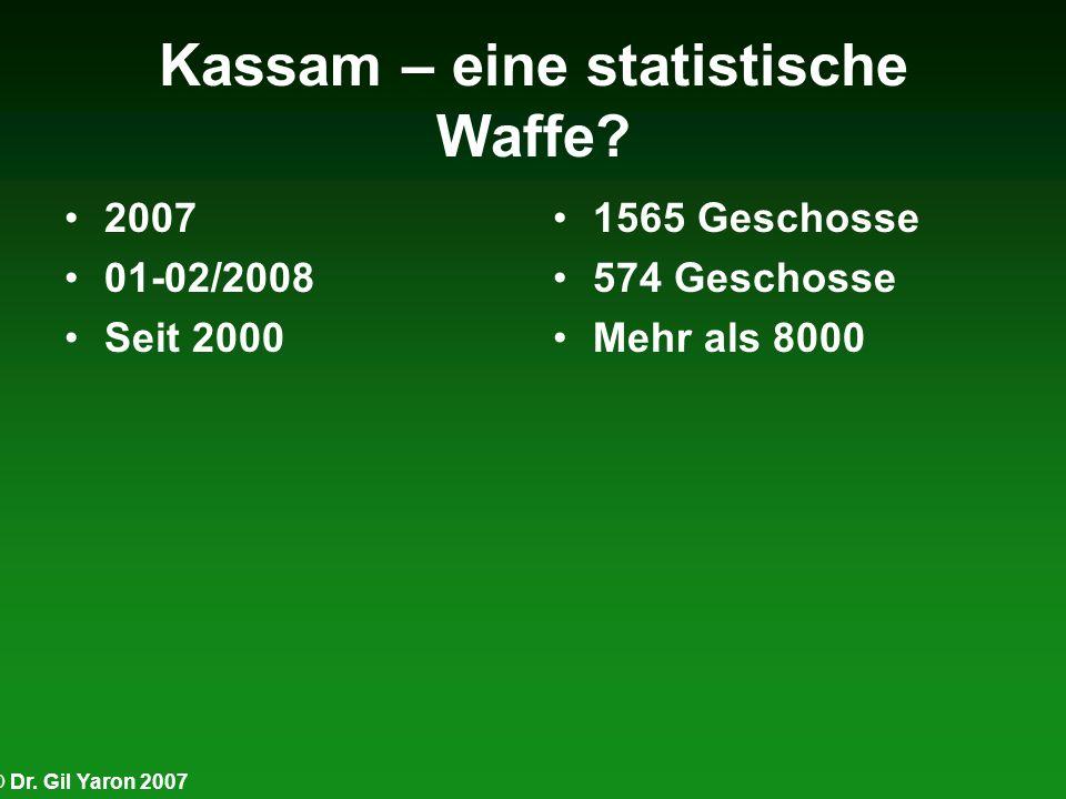 © Dr. Gil Yaron 2007 Kassam – eine statistische Waffe? 2007 01-02/2008 Seit 2000 1565 Geschosse 574 Geschosse Mehr als 8000