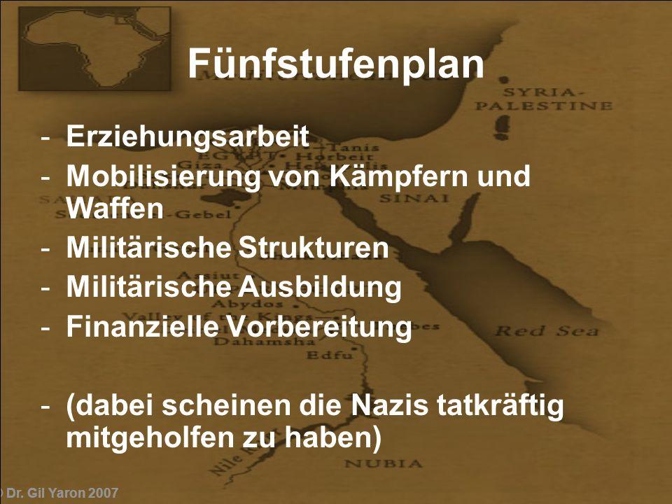 © Dr. Gil Yaron 2007 Fünfstufenplan -Erziehungsarbeit -Mobilisierung von Kämpfern und Waffen -Militärische Strukturen -Militärische Ausbildung -Finanz