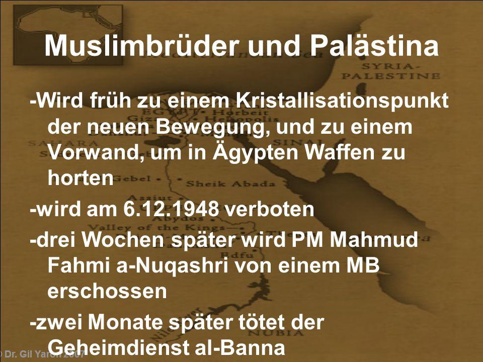 © Dr. Gil Yaron 2007 Muslimbrüder und Palästina -Wird früh zu einem Kristallisationspunkt der neuen Bewegung, und zu einem Vorwand, um in Ägypten Waff