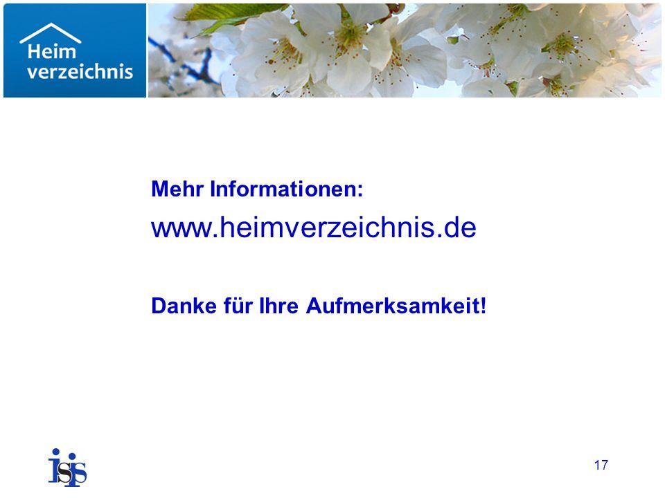 17 Mehr Informationen: www.heimverzeichnis.de Danke für Ihre Aufmerksamkeit!