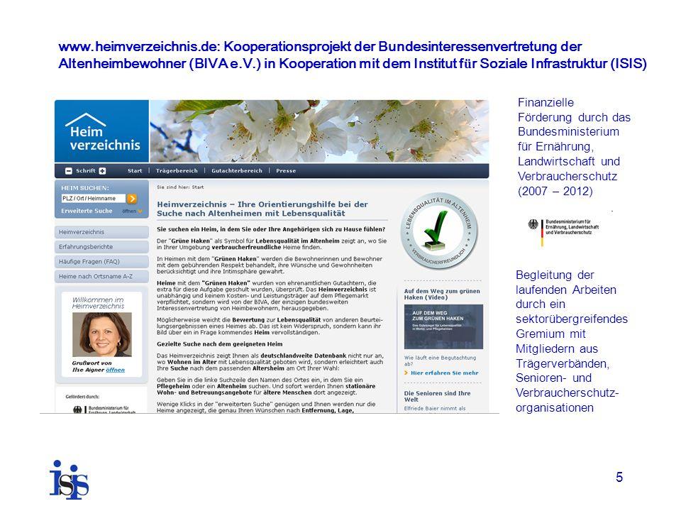 5 www.heimverzeichnis.de: Kooperationsprojekt der Bundesinteressenvertretung der Altenheimbewohner (BIVA e.V.) in Kooperation mit dem Institut f ü r S