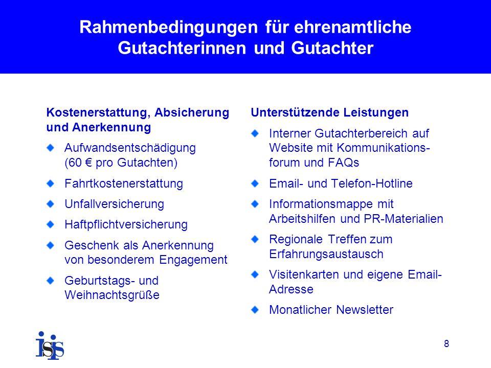 8 Rahmenbedingungen für ehrenamtliche Gutachterinnen und Gutachter Kostenerstattung, Absicherung und Anerkennung Aufwandsentschädigung (60 pro Gutacht
