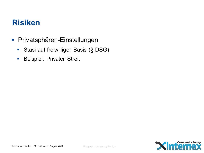 DI Johannes Weber – St. Pölten, 31. August 2011 Risiken Privatsphären-Einstellungen Stasi auf freiwilliger Basis (§ DSG) Beispiel: Privater Streit Bil