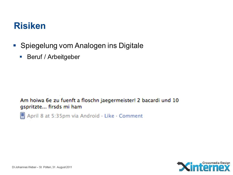 DI Johannes Weber – St. Pölten, 31. August 2011 Risiken Spiegelung vom Analogen ins Digitale Beruf / Arbeitgeber