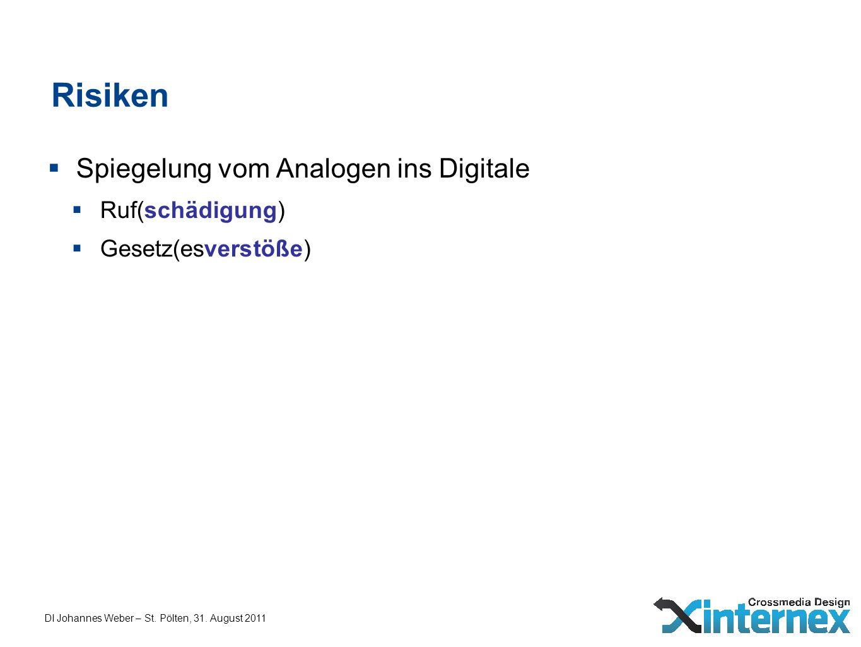 DI Johannes Weber – St. Pölten, 31. August 2011 Risiken Spiegelung vom Analogen ins Digitale Ruf(schädigung) Gesetz(esverstöße)