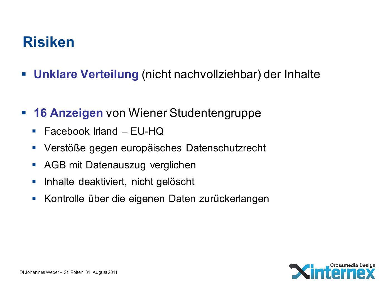DI Johannes Weber – St. Pölten, 31. August 2011 Risiken Unklare Verteilung (nicht nachvollziehbar) der Inhalte 16 Anzeigen von Wiener Studentengruppe
