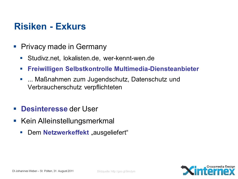 DI Johannes Weber – St. Pölten, 31. August 2011 Risiken - Exkurs Privacy made in Germany Studivz.net, lokalisten.de, wer-kennt-wen.de Freiwilligen Sel