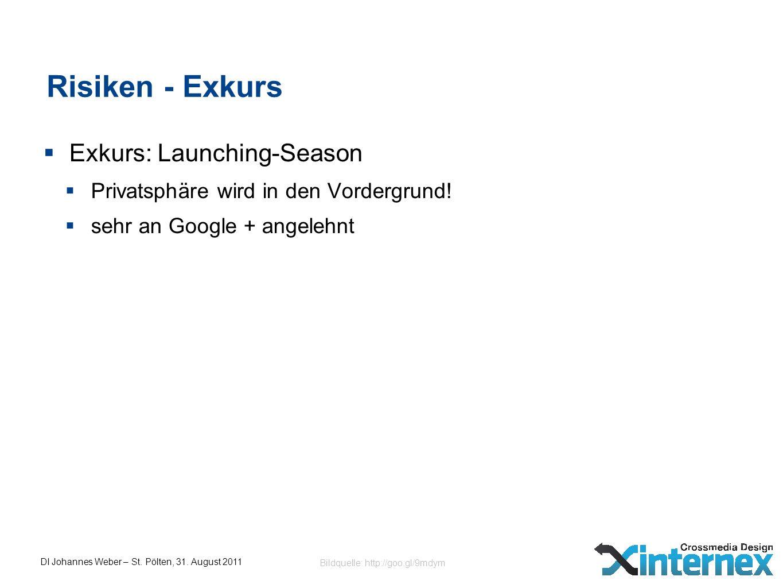 DI Johannes Weber – St. Pölten, 31. August 2011 Risiken - Exkurs Exkurs: Launching-Season Privatsphäre wird in den Vordergrund! sehr an Google + angel
