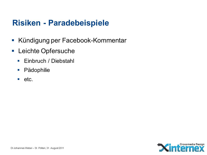 DI Johannes Weber – St. Pölten, 31. August 2011 Risiken - Paradebeispiele Kündigung per Facebook-Kommentar Leichte Opfersuche Einbruch / Diebstahl Päd