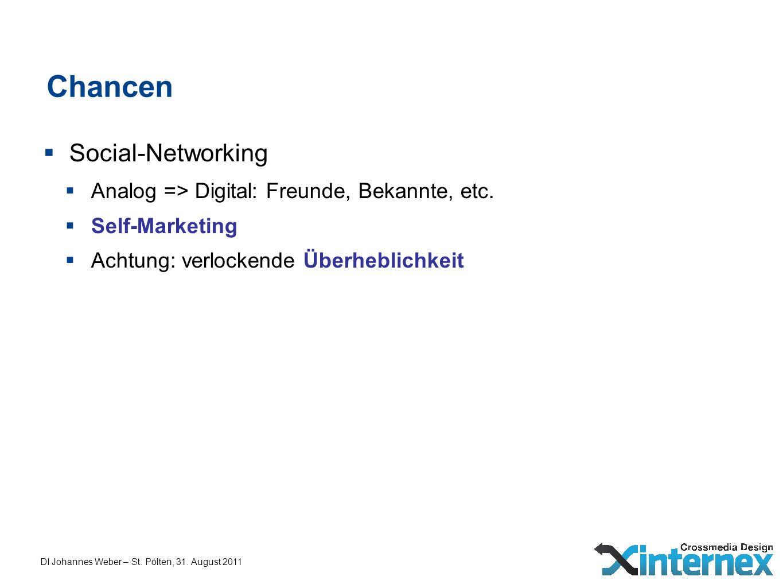 Chancen Social-Networking Analog => Digital: Freunde, Bekannte, etc. Self-Marketing Achtung: verlockende Überheblichkeit