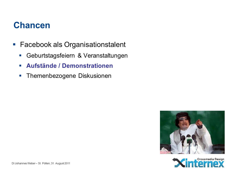 DI Johannes Weber – St. Pölten, 31. August 2011 Chancen Facebook als Organisationstalent Geburtstagsfeiern & Veranstaltungen Aufstände / Demonstration
