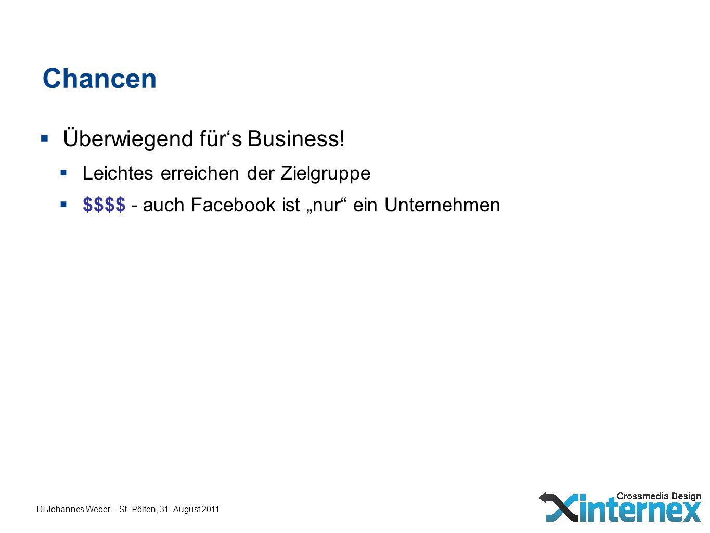 DI Johannes Weber – St. Pölten, 31. August 2011 Chancen Überwiegend fürs Business! Leichtes erreichen der Zielgruppe $$$$ - auch Facebook ist nur ein