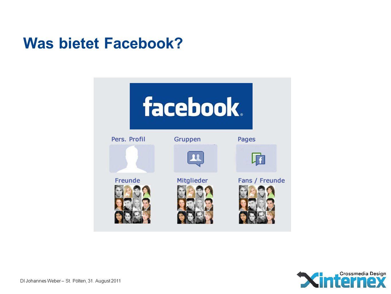 DI Johannes Weber – St. Pölten, 31. August 2011 Was bietet Facebook?