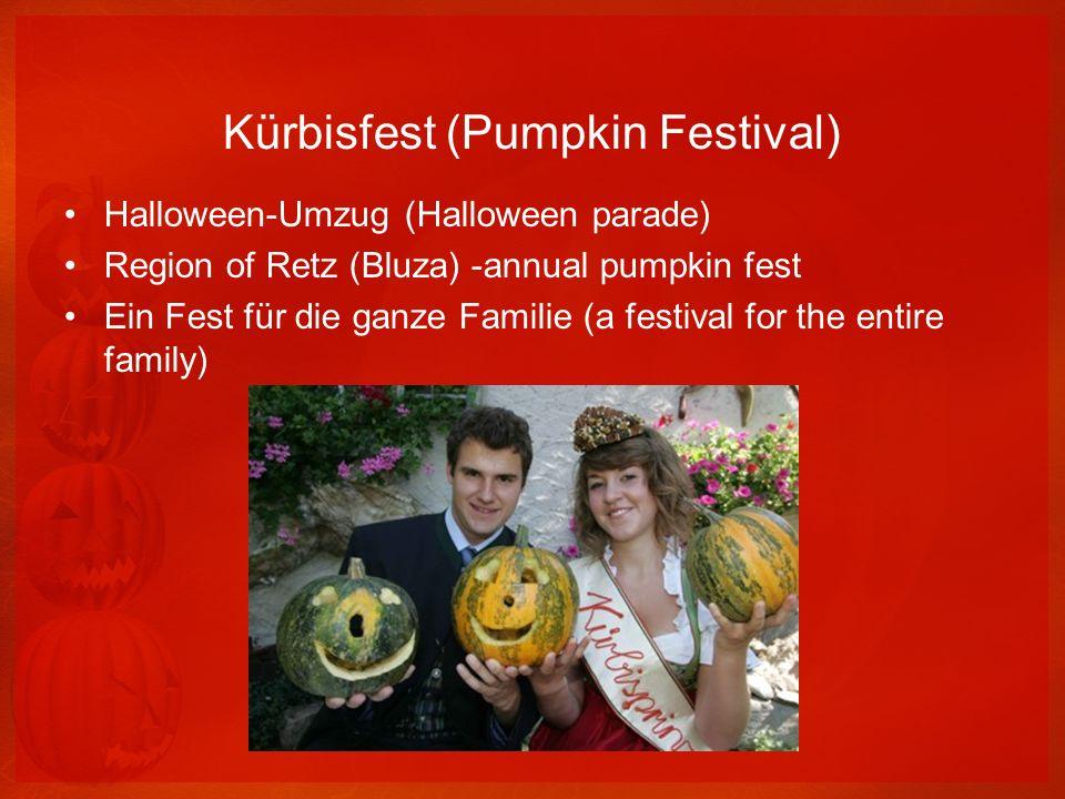 Kürbisfest (Pumpkin Festival) Halloween-Umzug (Halloween parade) Region of Retz (Bluza) -annual pumpkin fest Ein Fest für die ganze Familie (a festiva