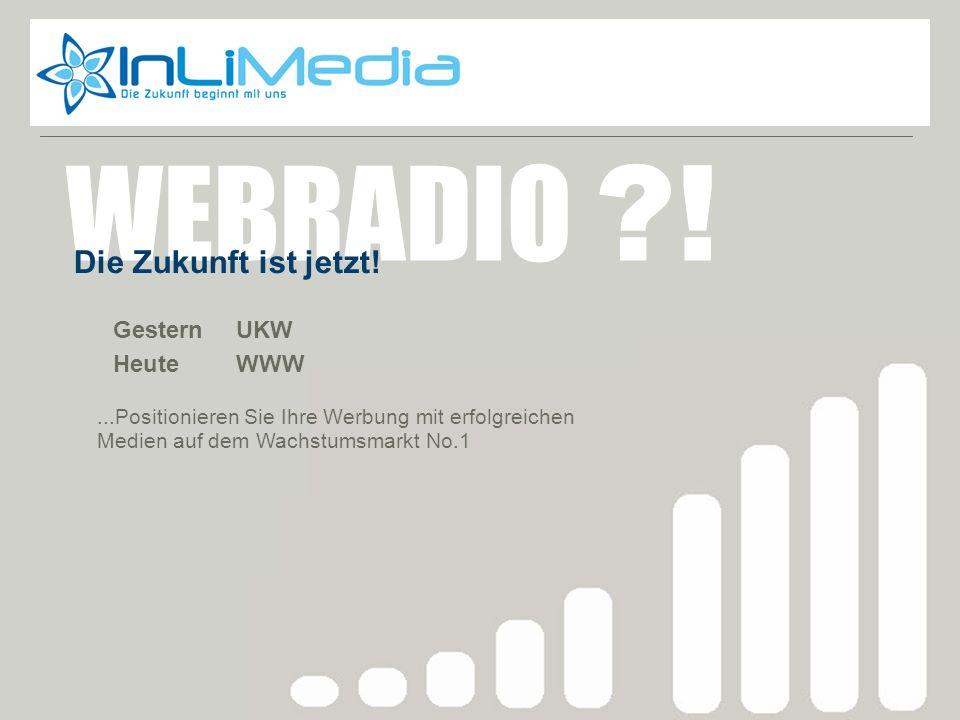 Webradio zukunft Gestern UKW Heute WWW WEBRADIO ?! Die Zukunft ist jetzt!...Positionieren Sie Ihre Werbung mit erfolgreichen Medien auf dem Wachstumsm