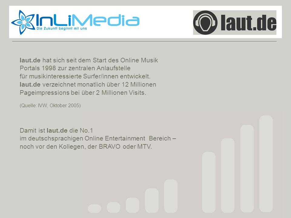 Laut.de laut.de hat sich seit dem Start des Online Musik Portals 1998 zur zentralen Anlaufstelle für musikinteressierte Surfer/innen entwickelt. laut.