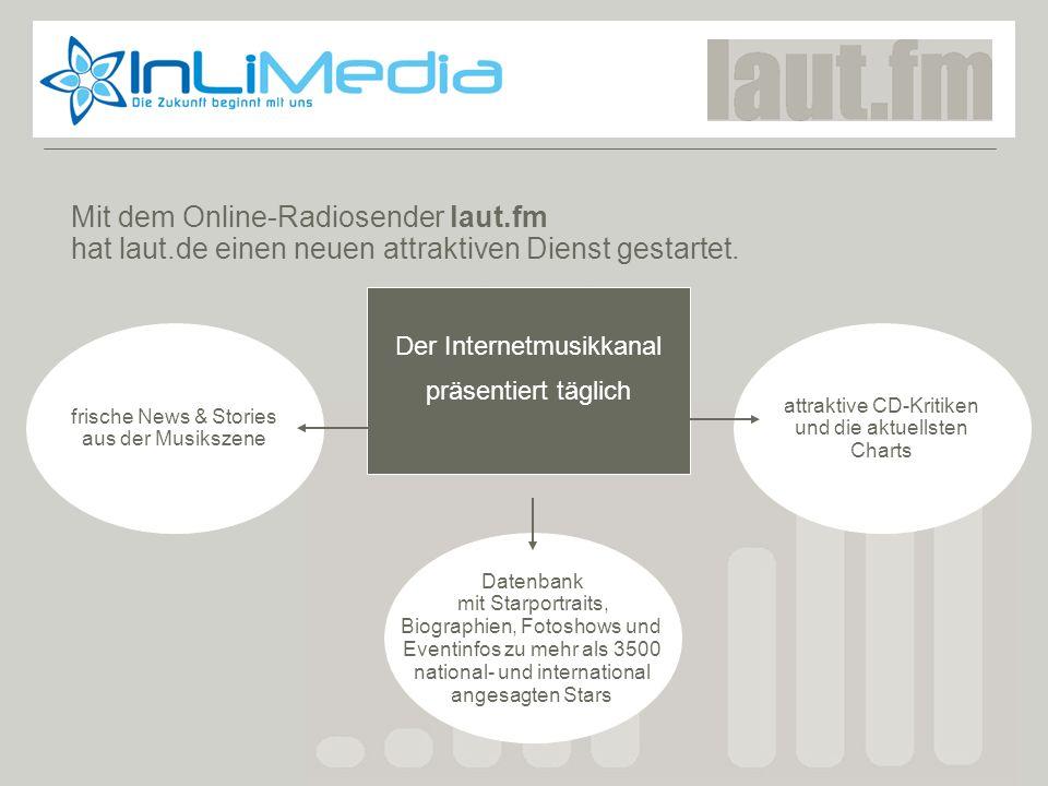 Laut.fm Mit dem Online-Radiosender laut.fm hat laut.de einen neuen attraktiven Dienst gestartet. Der Internetmusikkanal präsentiert täglich attraktive