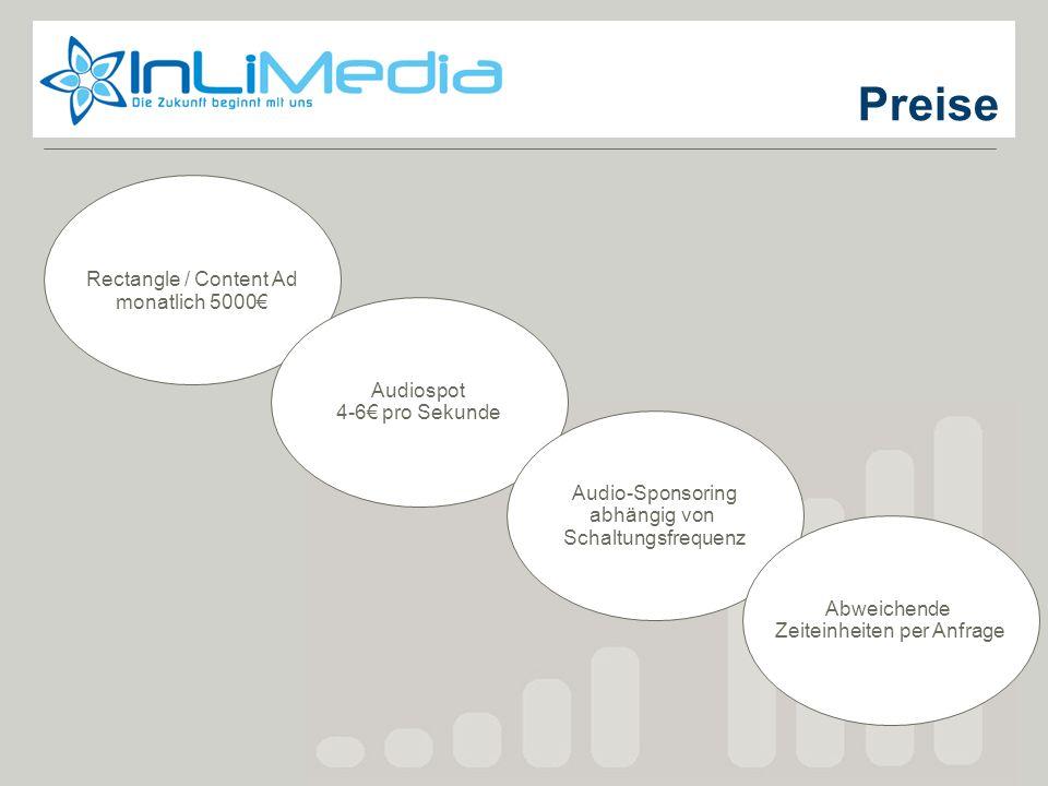 Preise Rectangle / Content Ad monatlich 5000 Audiospot 4-6 pro Sekunde Audio-Sponsoring abhängig von Schaltungsfrequenz Abweichende Zeiteinheiten per