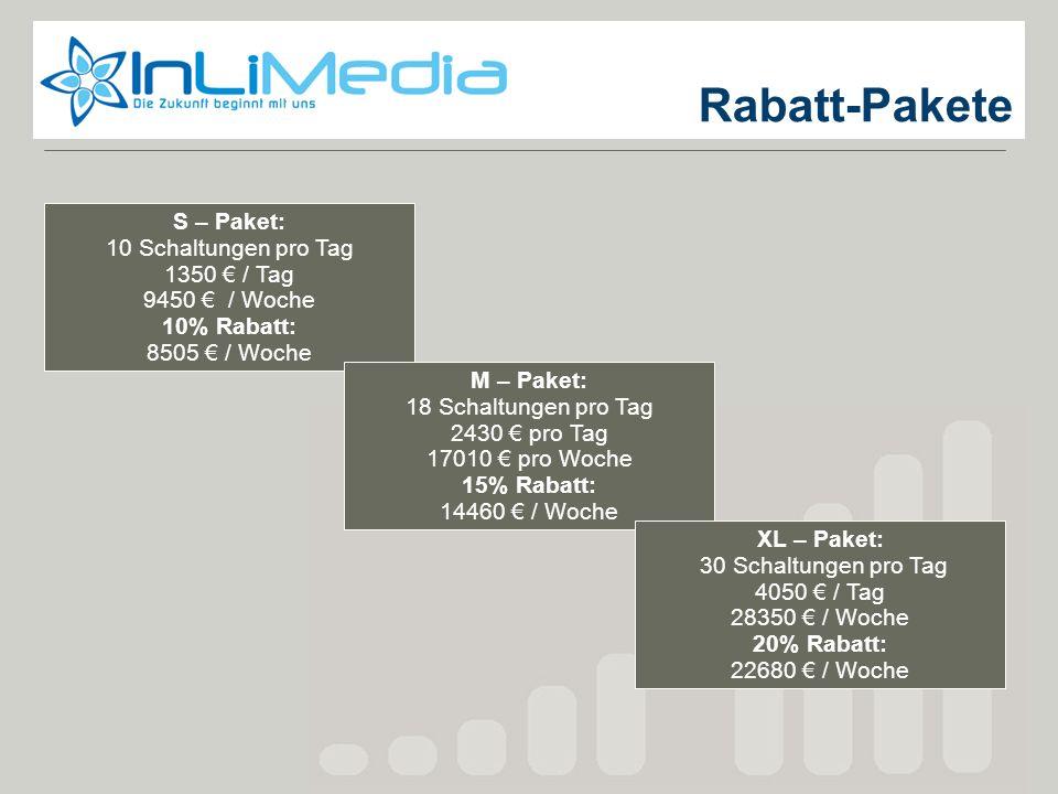 Rabatt-Pakete S – Paket: 10 Schaltungen pro Tag 1350 / Tag 9450 / Woche 10% Rabatt: 8505 / Woche M – Paket: 18 Schaltungen pro Tag 2430 pro Tag 17010
