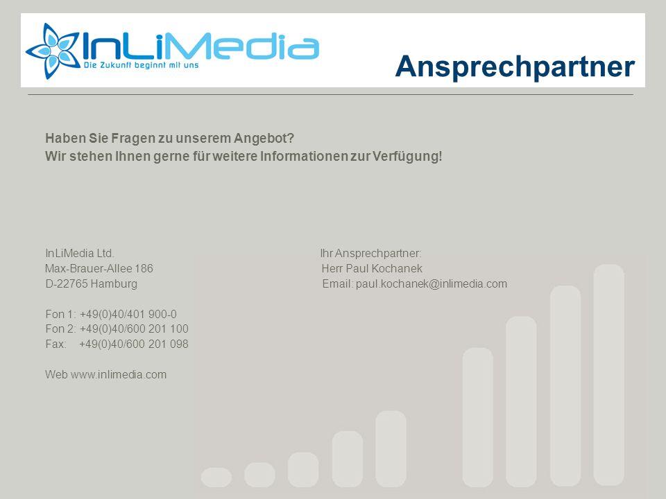 Ansprechpartner Haben Sie Fragen zu unserem Angebot? Wir stehen Ihnen gerne für weitere Informationen zur Verfügung! InLiMedia Ltd. Ihr Ansprechpartne