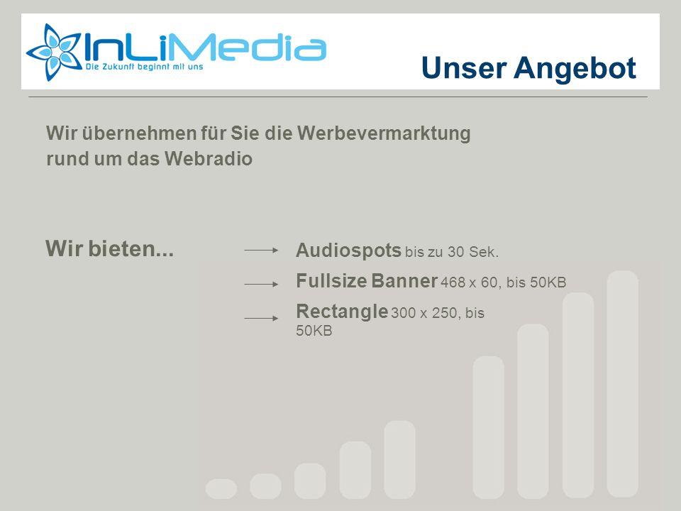 Unser Angebot Wir übernehmen für Sie die Werbevermarktung rund um das Webradio Wir bieten... Audiospots bis zu 30 Sek. Fullsize Banner 468 x 60, bis 5