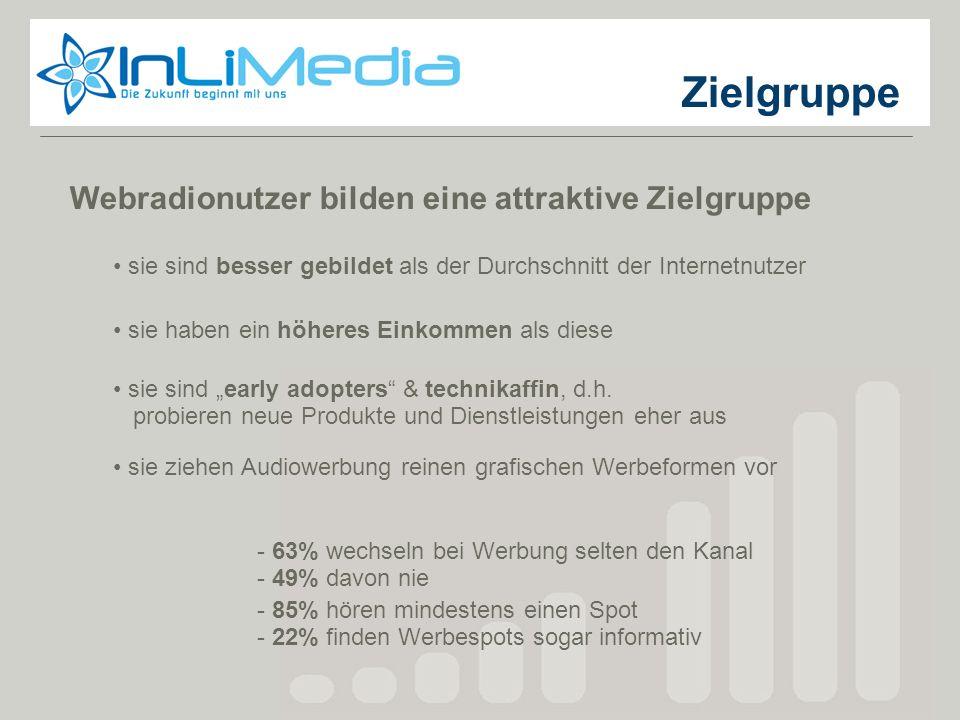 Zielgruppen Angesprochen werden die Hörer über das Spektrum der gesamten Radiolandschaft privater Radiosender in Deutschland.