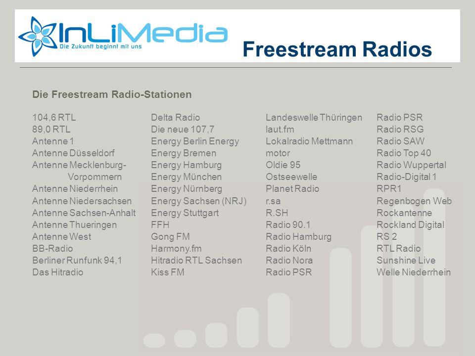 Freestream Die Freestream Radio-Stationen 104,6 RTL 89,0 RTL Antenne 1 Antenne Düsseldorf Antenne Mecklenburg- Vorpommern Antenne Niederrhein Antenne
