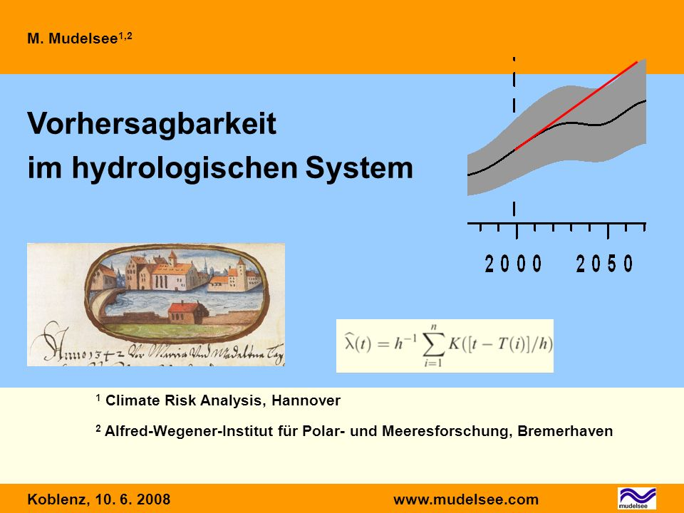 WM, WettermodellHM, Hydrologisches Modell GCM, Globales KlimamodellQ(t), Abflusst, Zeit RM, Regionales Klimamodell (t), Auftrittsrate ZeitskalaWerkzeugProdukt 0–10 dWM-HMQ(t) 0–100 aGCM-RM-HM (t) 0–10 aStatistisches Modell (t) Um was gehts?