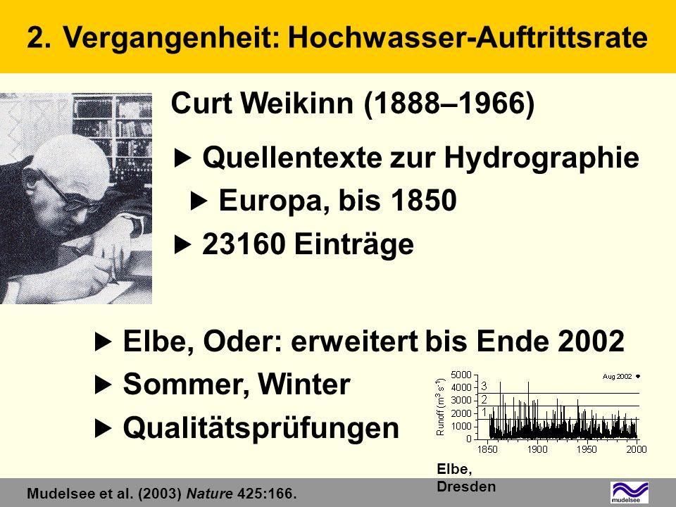 Curt Weikinn (1888–1966) Quellentexte zur Hydrographie Europa, bis 1850 23160 Einträge Elbe, Oder: erweitert bis Ende 2002 Sommer, Winter Qualitätsprü