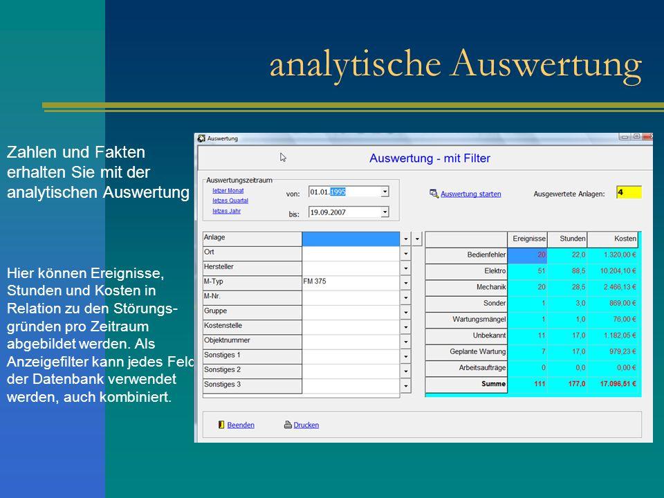 analytische Auswertung Zahlen und Fakten erhalten Sie mit der analytischen Auswertung Hier können Ereignisse, Stunden und Kosten in Relation zu den St
