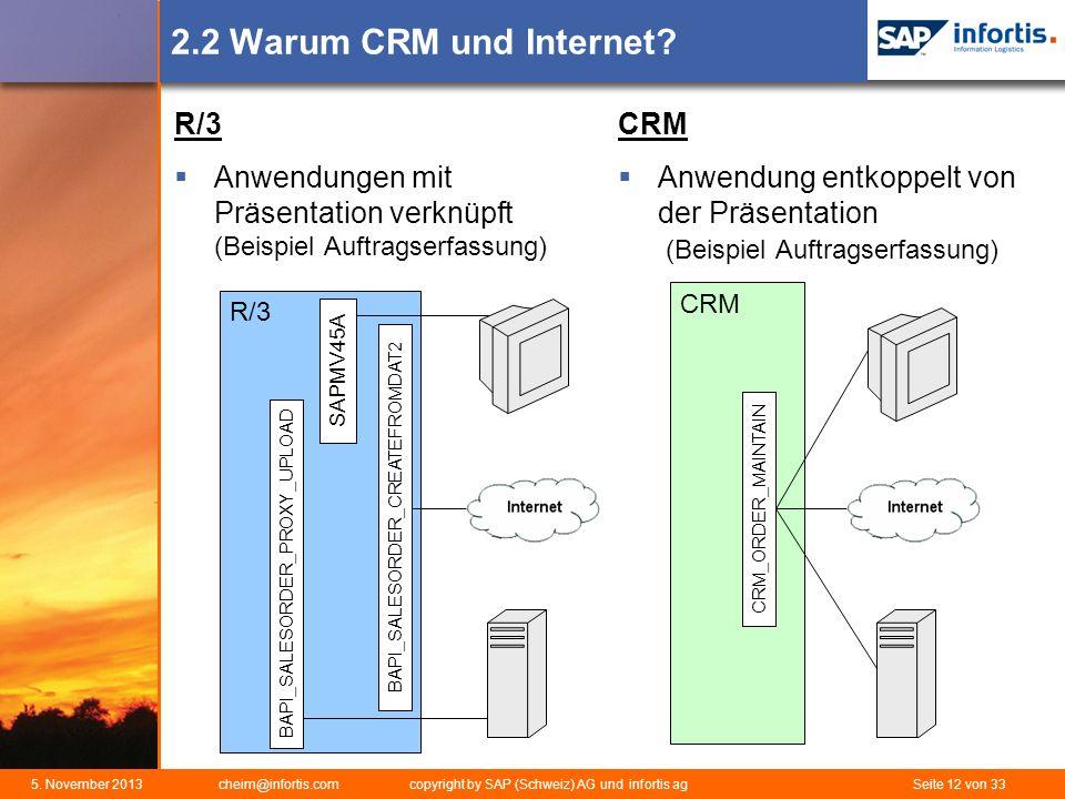 5. November 2013 cheim@infortis.com copyright by SAP (Schweiz) AG und infortis ag Seite 12 von 33 2.2 Warum CRM und Internet? R/3 Anwendungen mit Präs