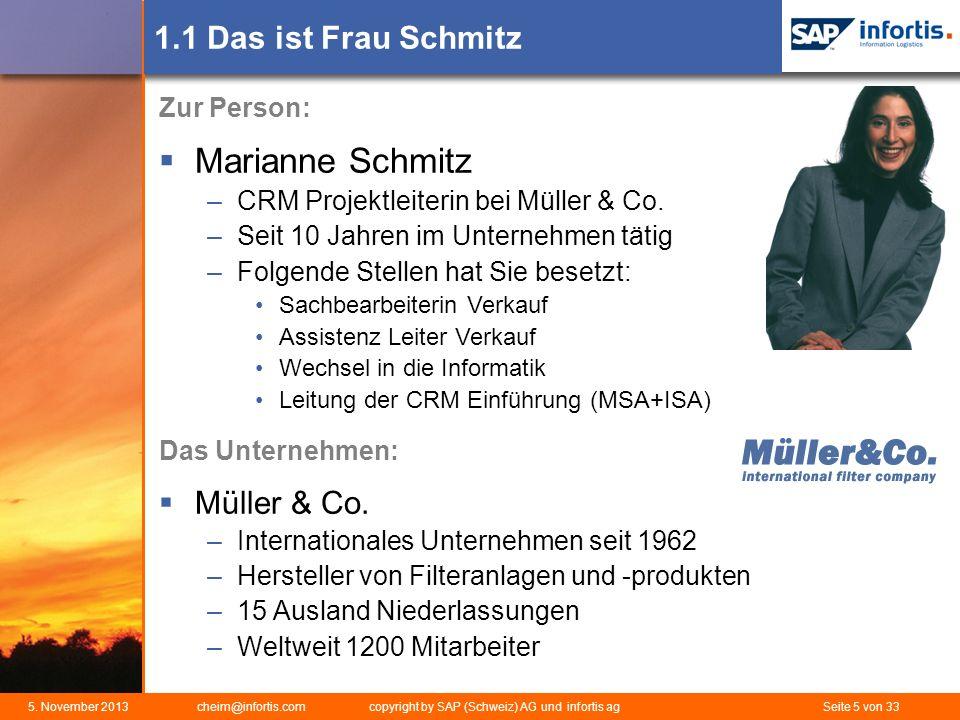 5. November 2013 cheim@infortis.com copyright by SAP (Schweiz) AG und infortis ag Seite 5 von 33 1.1 Das ist Frau Schmitz Zur Person: Marianne Schmitz
