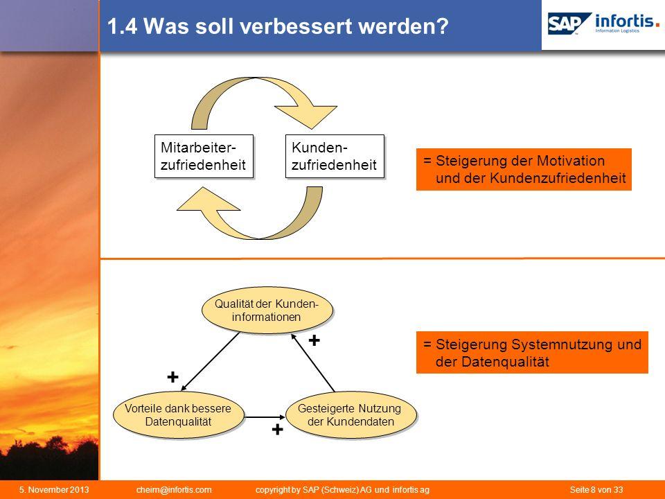 5. November 2013 cheim@infortis.com copyright by SAP (Schweiz) AG und infortis ag Seite 8 von 33 1.4 Was soll verbessert werden? Kunden- zufriedenheit