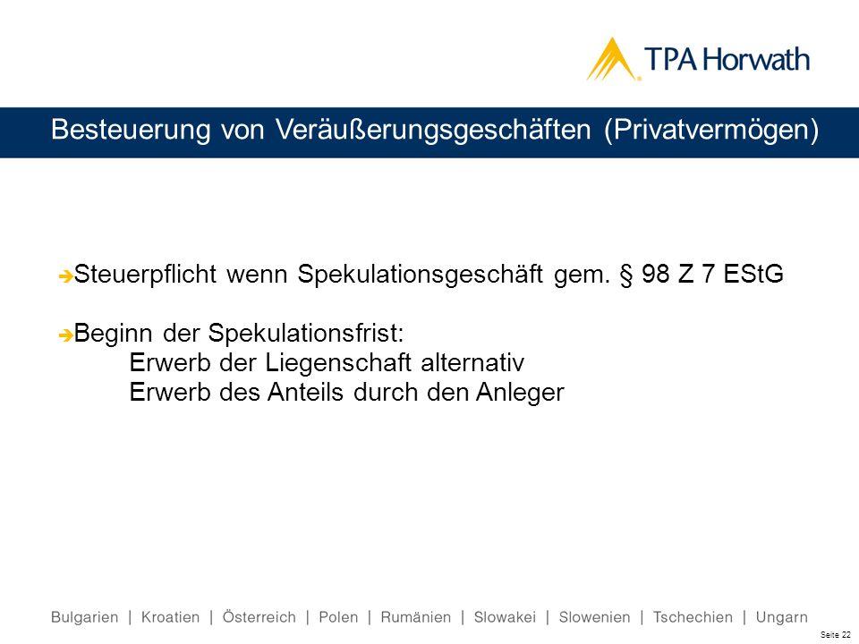 Besteuerung von Veräußerungsgeschäften (Privatvermögen) Steuerpflicht wenn Spekulationsgeschäft gem. § 98 Z 7 EStG Beginn der Spekulationsfrist: Erwer
