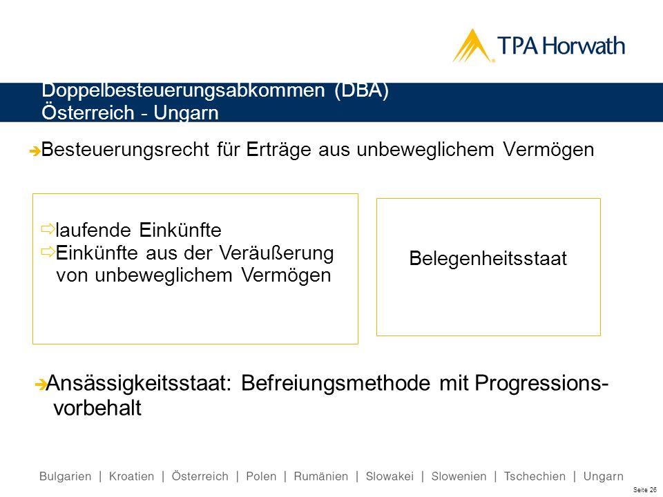 Doppelbesteuerungsabkommen (DBA) Österreich - Ungarn Besteuerungsrecht für Erträge aus unbeweglichem Vermögen laufende Einkünfte Einkünfte aus der Ver