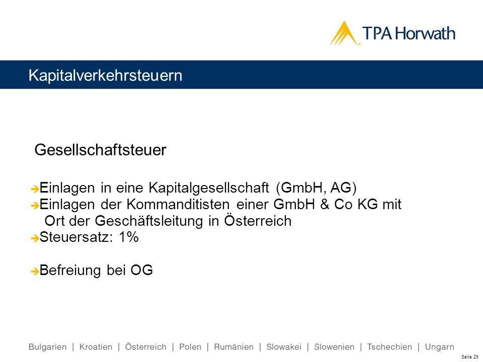 Kapitalverkehrsteuern Gesellschaftsteuer Einlagen in eine Kapitalgesellschaft (GmbH, AG) Einlagen der Kommanditisten einer GmbH & Co KG mit Ort der Ge