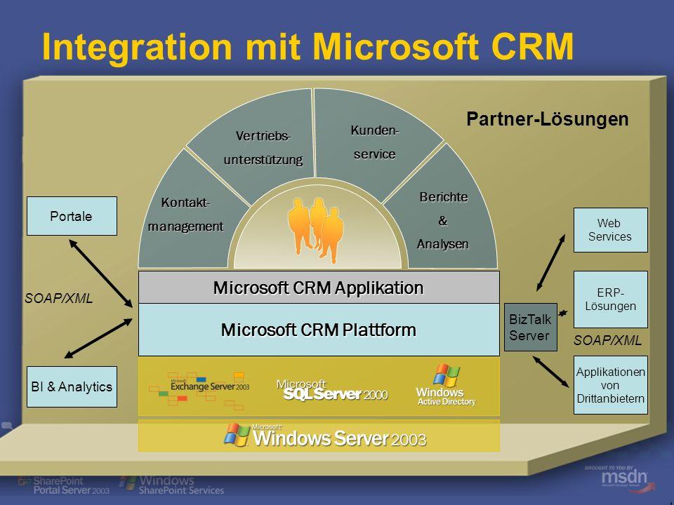 .NET Framework Microsoft CRM Plattform Sichere Schnittstellen (SOAP APIs) Geschäftslogik Präsentationsebene auf Basis von ASP.NET (Outlook, IE) Berich