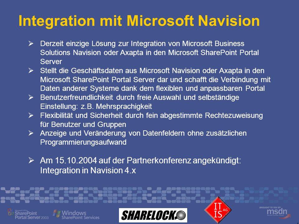 Integration mit Microsoft Navision Derzeit einzige Lösung zur Integration von Microsoft Business Solutions Navision oder Axapta in den Microsoft Share