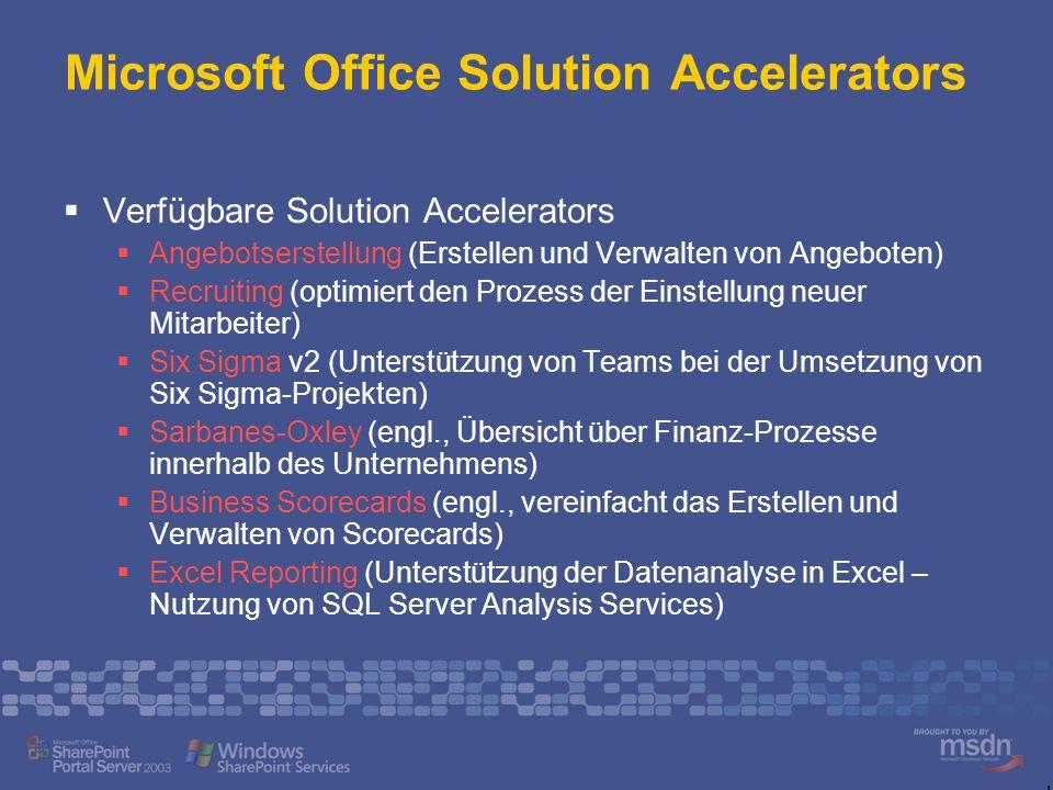 Microsoft Office Solution Accelerators Verfügbare Solution Accelerators Angebotserstellung (Erstellen und Verwalten von Angeboten) Recruiting (optimie
