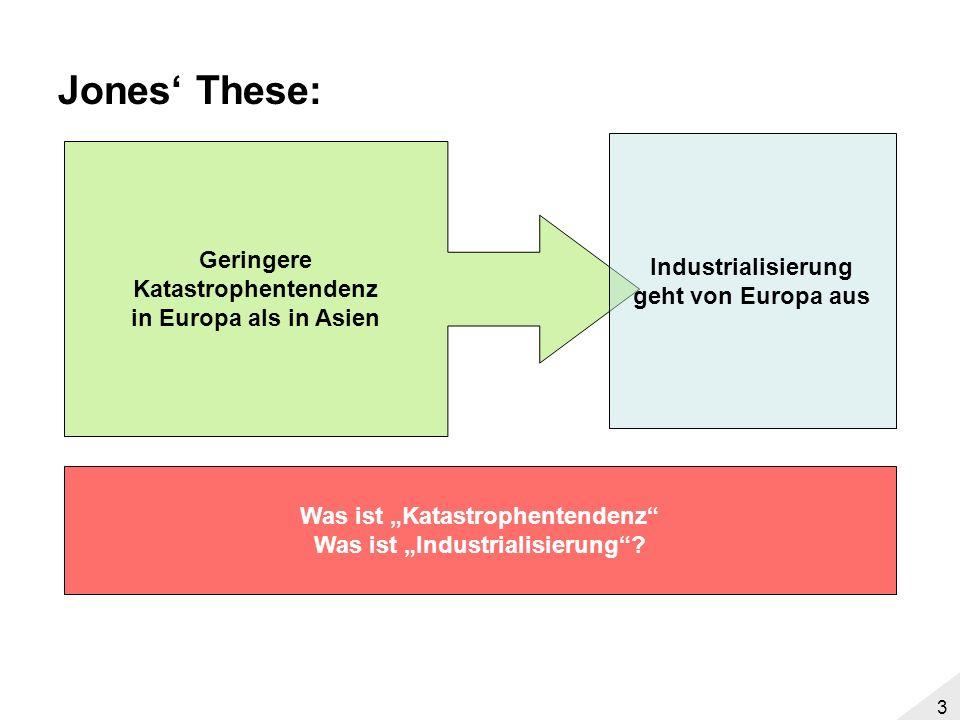 2 Agenda These Jones Fakten –Industrialisierungsverlauf –Katastrophentendenzen Wirkungszusammenhänge –Landwirtschaft –Demographie –Kapitalakkumulation