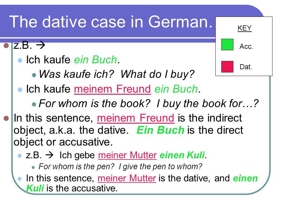 The dative case in German… z.B.Ich kaufe ein Buch.