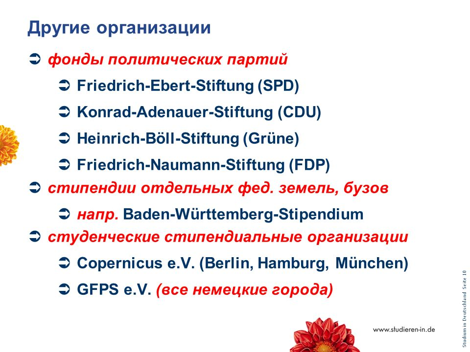 Studium in Deutschland Seite 10 Другие организации фонды политических партий Friedrich-Ebert-Stiftung (SPD) Konrad-Adenauer-Stiftung (CDU) Heinrich-Bö
