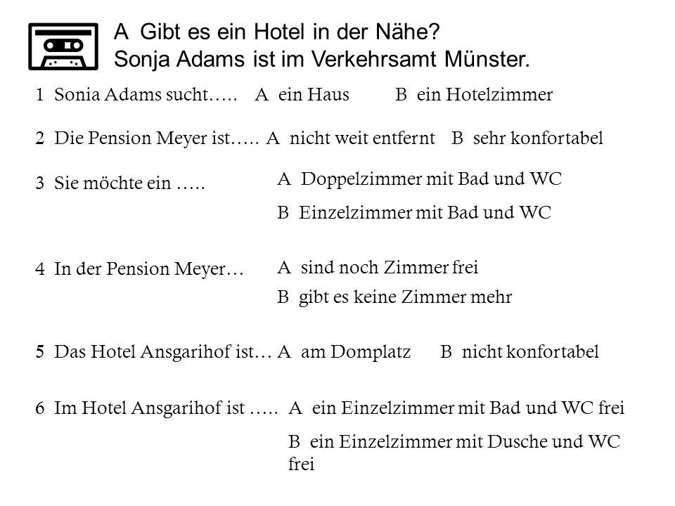 A Gibt es ein Hotel in der Nähe.Sonja Adams ist im Verkehrsamt Münster.