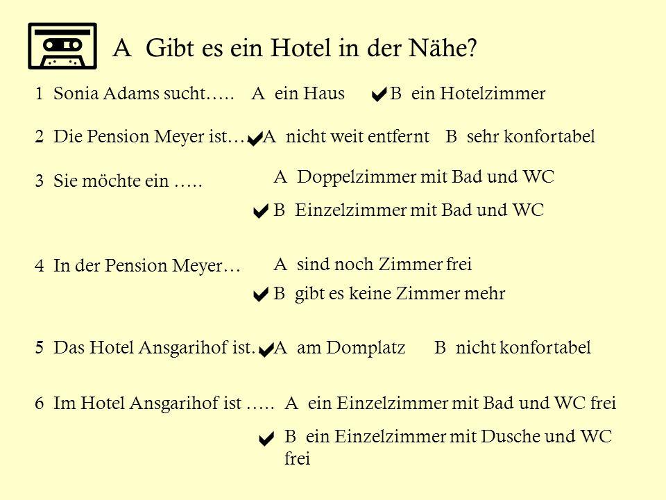 A Gibt es ein Hotel in der Nähe? Sonja Adams ist im Verkehrsamt Münster. 1 Sonia Adams sucht…..A ein HausB ein Hotelzimmer 2 Die Pension Meyer ist…..A