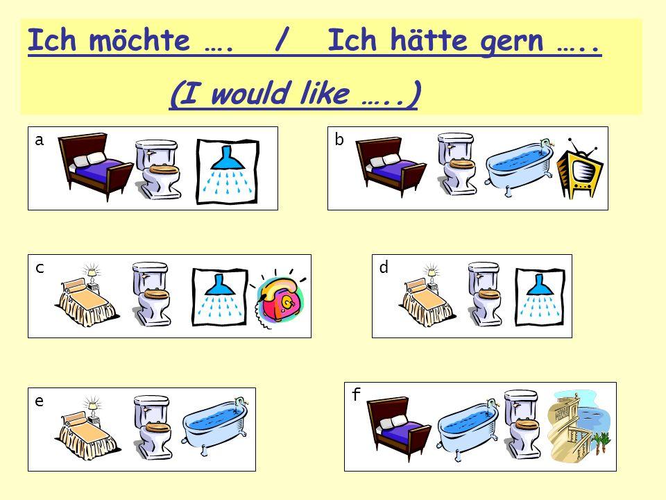 a b c d f e Ich möchte …. / Ich hätte gern ….. (I would like …..)